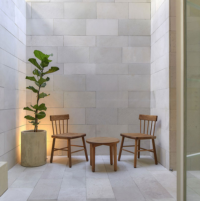 Círculo Mexicano, Mexico City - hotel nook with simple white stone walls and floors, tall plant in earthen pot, and simple wooden chairs and round coffee table