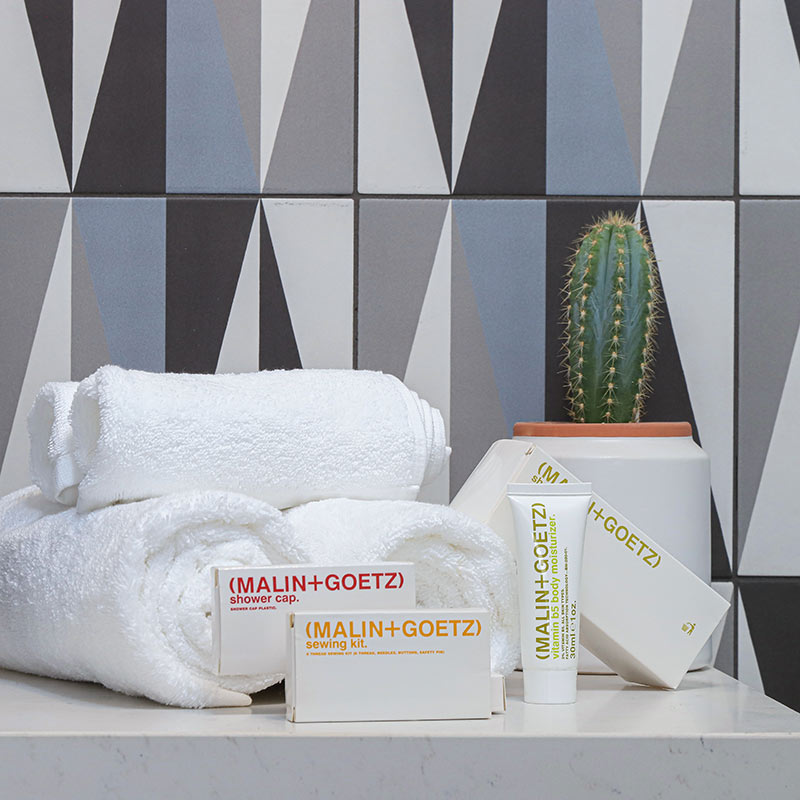 The Tuxon Hotel, Tucson - close up of hotel bathroom with potted cactus, fresh towels, and Malin + Goetz products