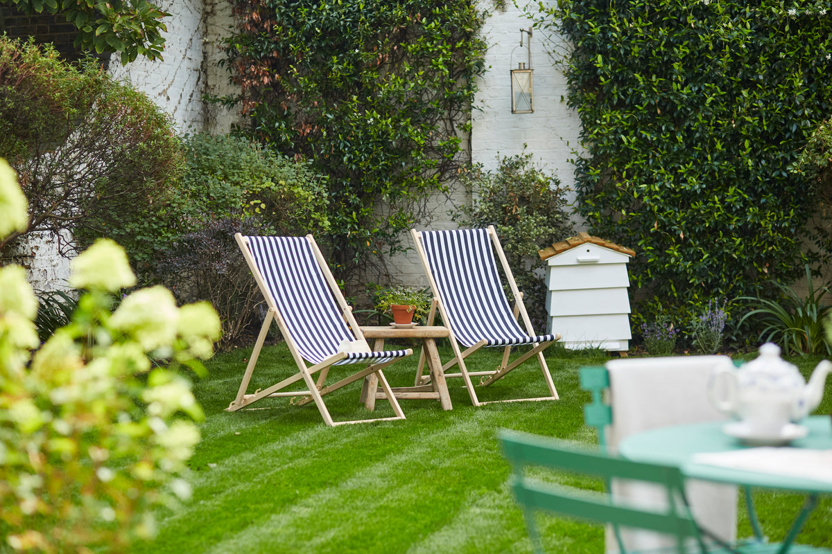Lime Tree Hotel, London, UK - hotel garden with blue striped lawn chairs and hedges