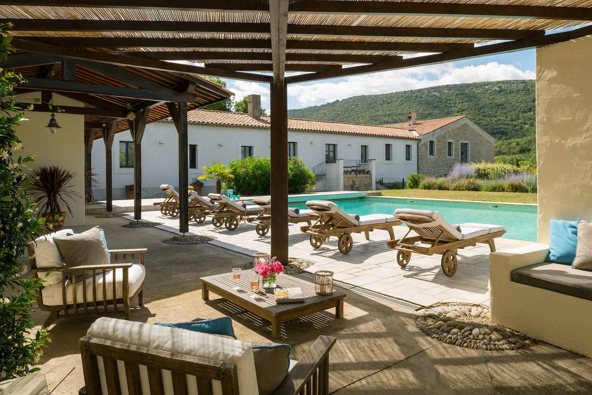 La Fraissinède, Val de Dagne, France - outdoor patio overlooking pool and mountainous countryside views