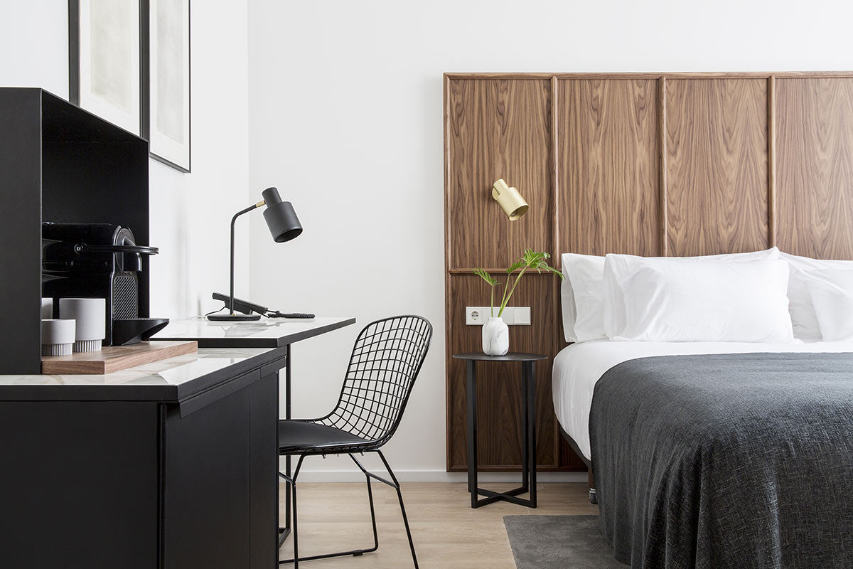 Yurbban Passage Hotel, Barcelona - hotel room with desk, chair, bed, and Nespresso machine