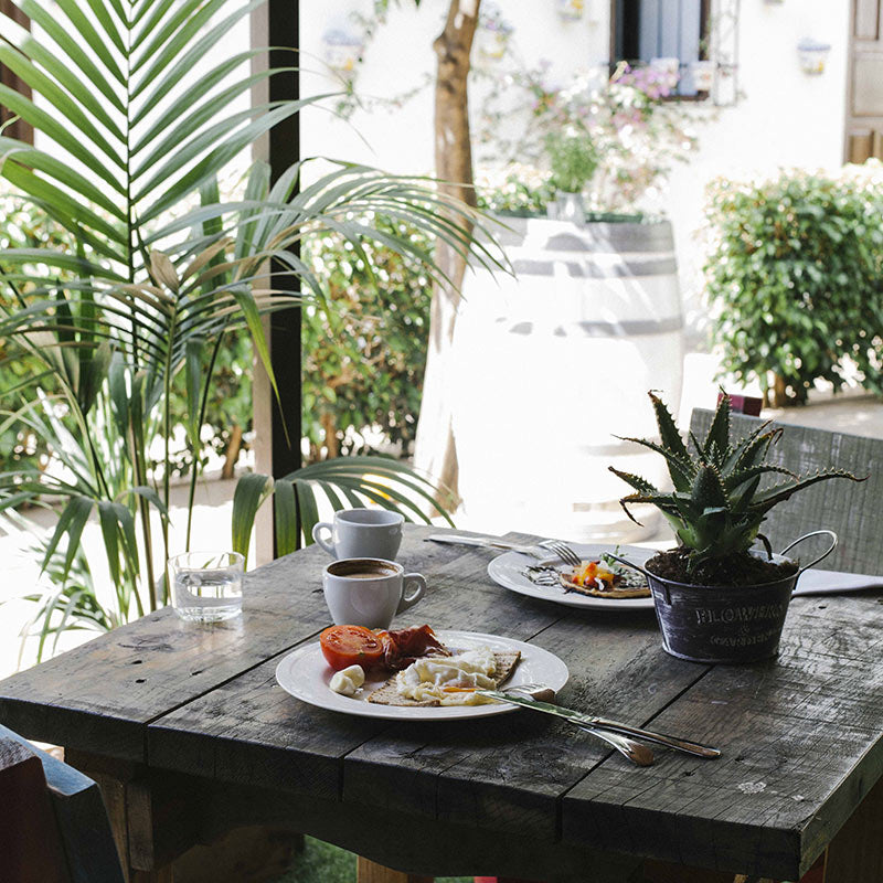 Fontecruz Sevilla Seises, Seville - breakfast spread on a rustic wooden table with potted plants around