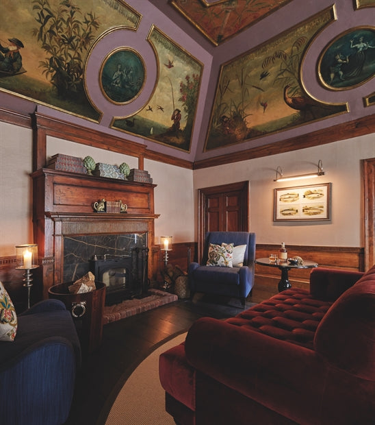 Monkey Island Estate, The Thames - The Monkey Room with ornate painted ceilings, dark velvet furniture, and dark wood decoration