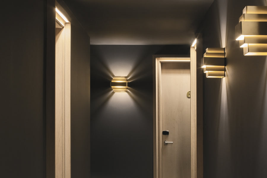 Yurbban Trafalgar, Barcelona - stylish hotel hallway with room doors and contemporary light fixtures
