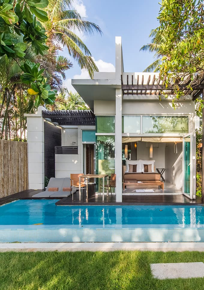 Aleenta Phuket Resort & Spa, Phuket - back of villa with pool, lounge chairs, patio, and sliding doors leading to bedroom