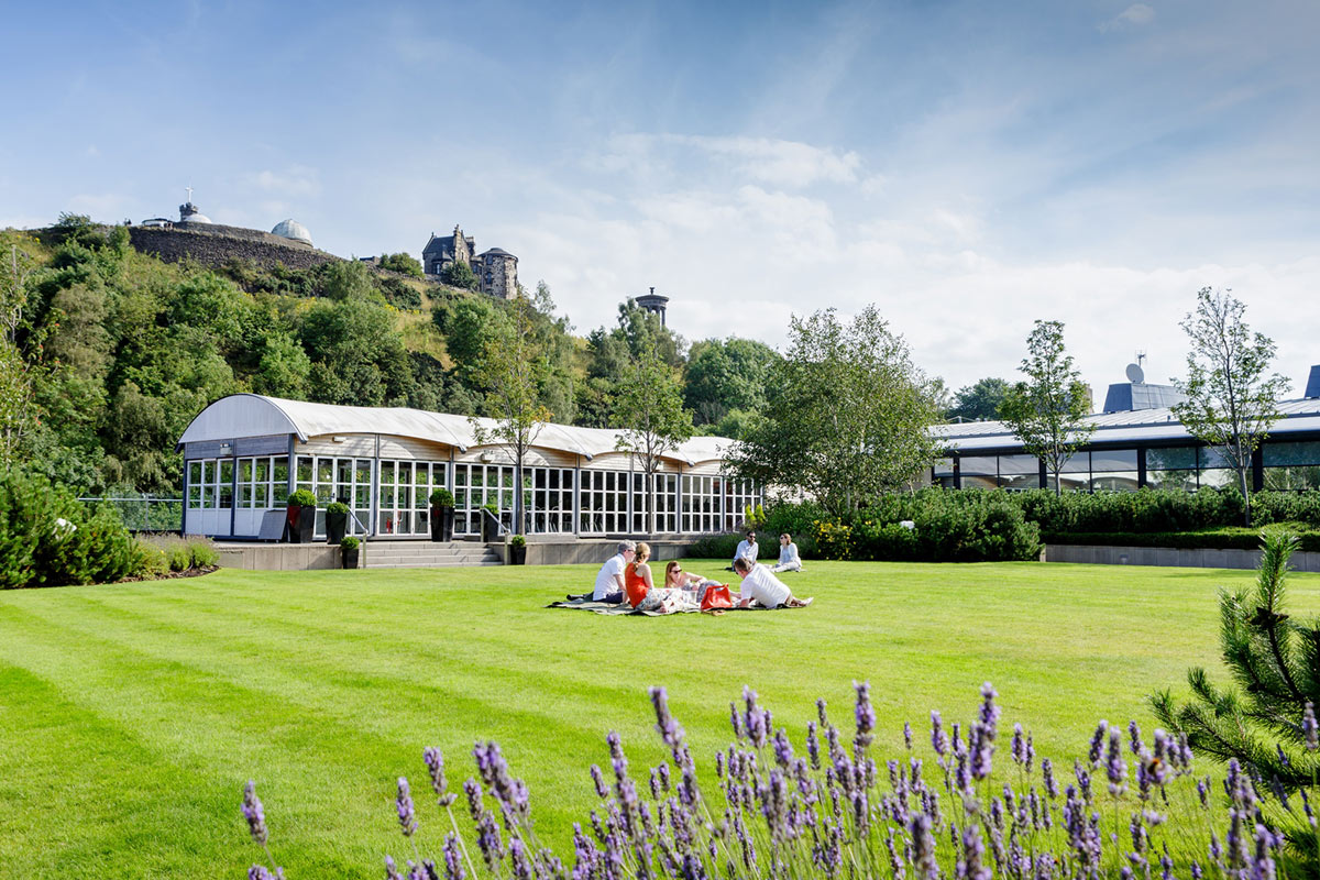The Glasshouse, Edinburgh - hotel rooftop with grassy lawn, greenhouse, manicured hedges, and lavender