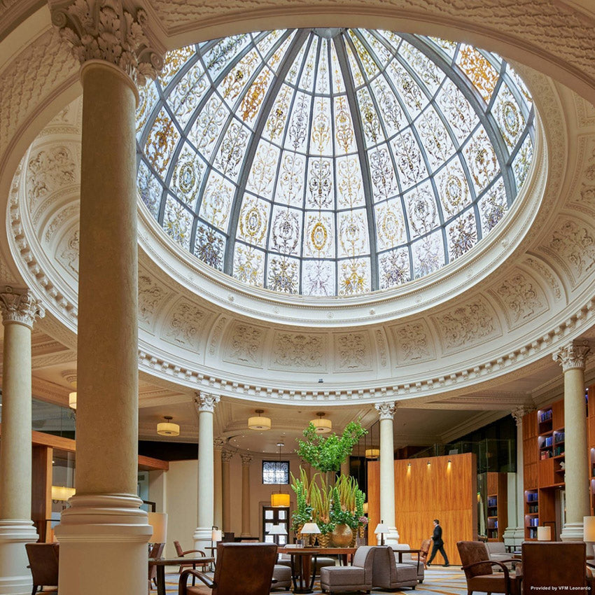 Threadneedles Hotel, London - glass domed ceiling over hotel lobby and lounge