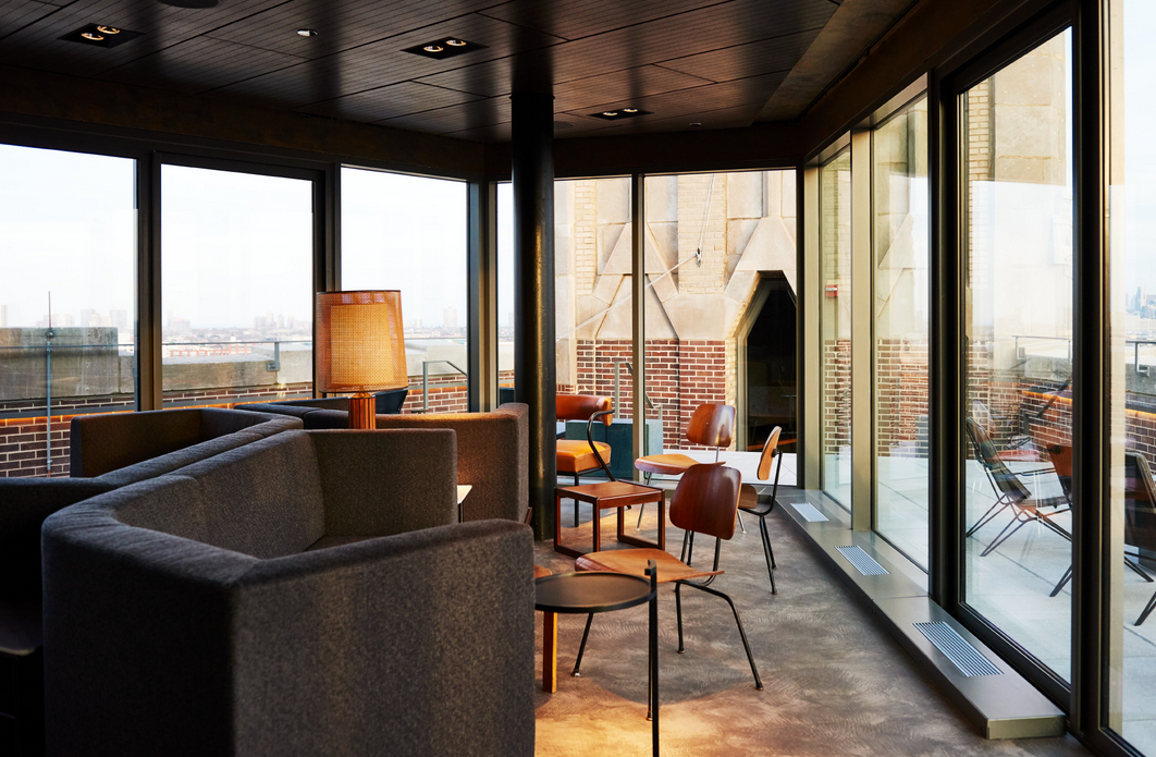 The Robey, Chicago - Up Room bar with large windows overlooking city view
