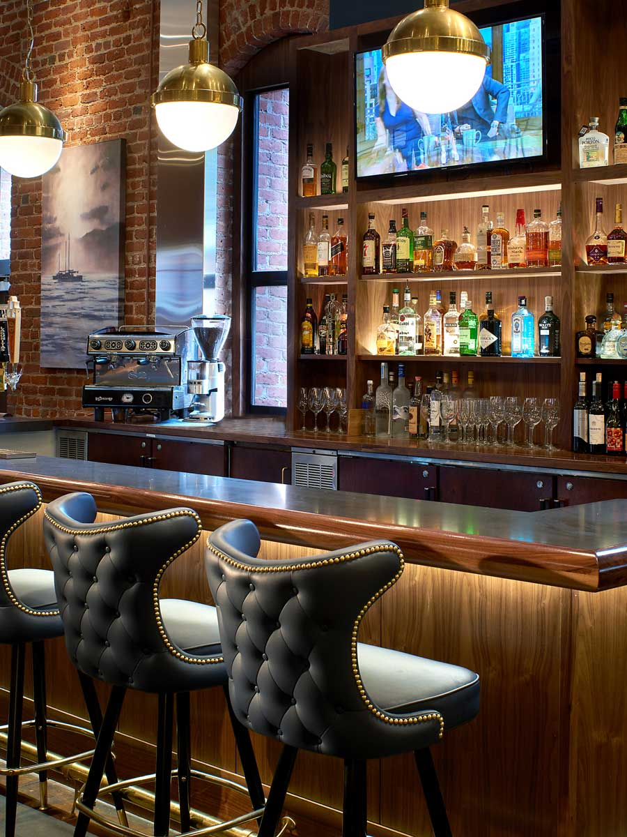 Argonaut Hotel, San Francisco - hotel bar at the Blue Mermaid Restaurant, blue leather barstool chairs at a bar