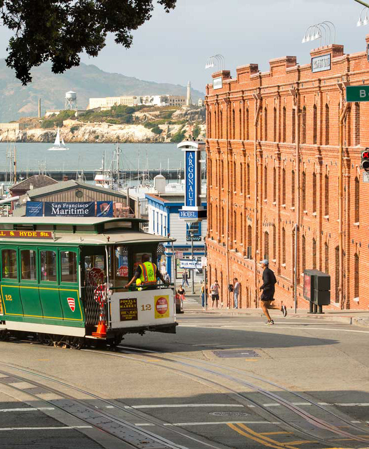 Argonaut Hotel, San Francisco - green trolly overlooking San Francisco bay, Fisherman's Wharf, and Alcatraz Island