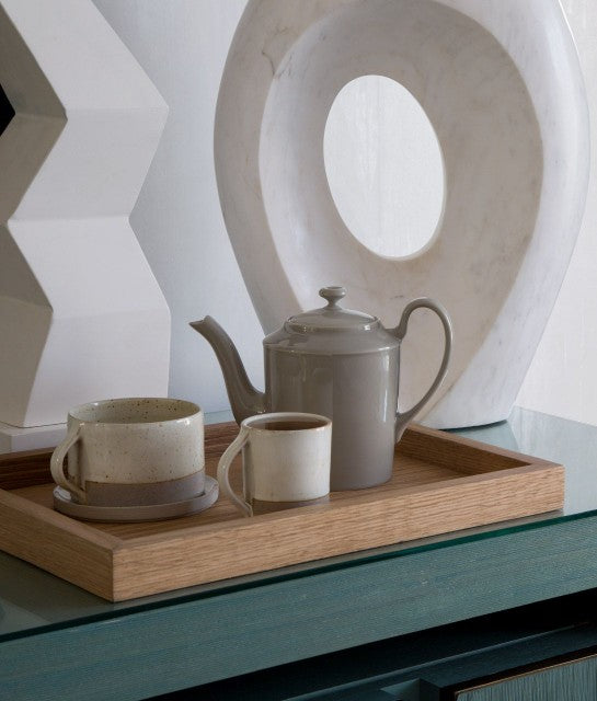 Avalon Hotel Beverly Hills, Los Angeles - wooden tray with greyscale mug, espresso cup, and teapot