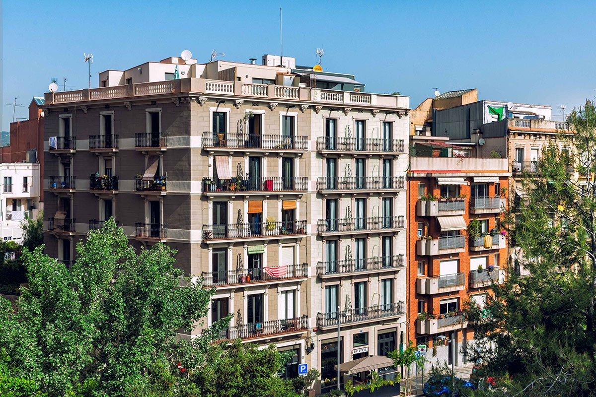 Hotel Brummell, Barcelona - hotel exterior with classic European building and iron balconies