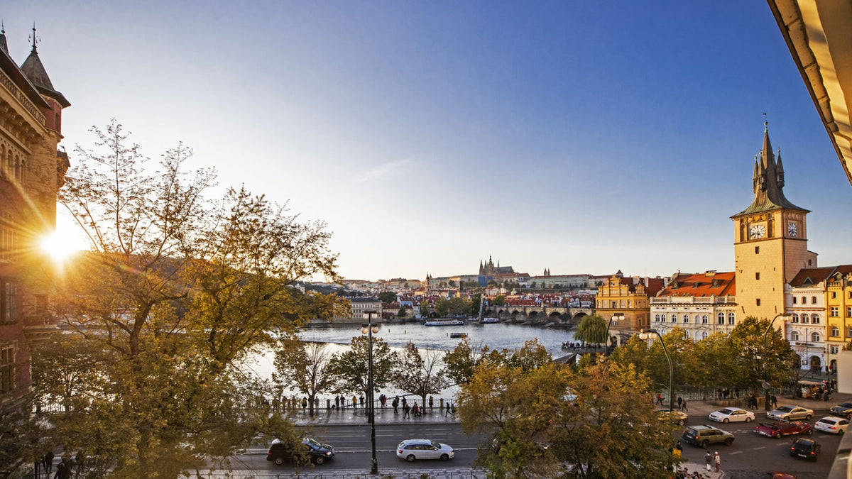 Smetana Hotel, Prague - view of Prague, Vltava River, and old style European buildings at sunset