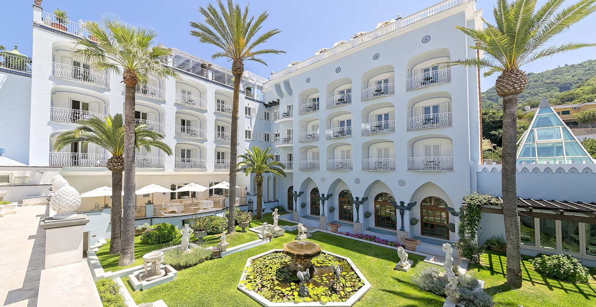 Terme Manzi Hotel & Spa, Ischia - hotel courtyard with manicured garden and marble statues