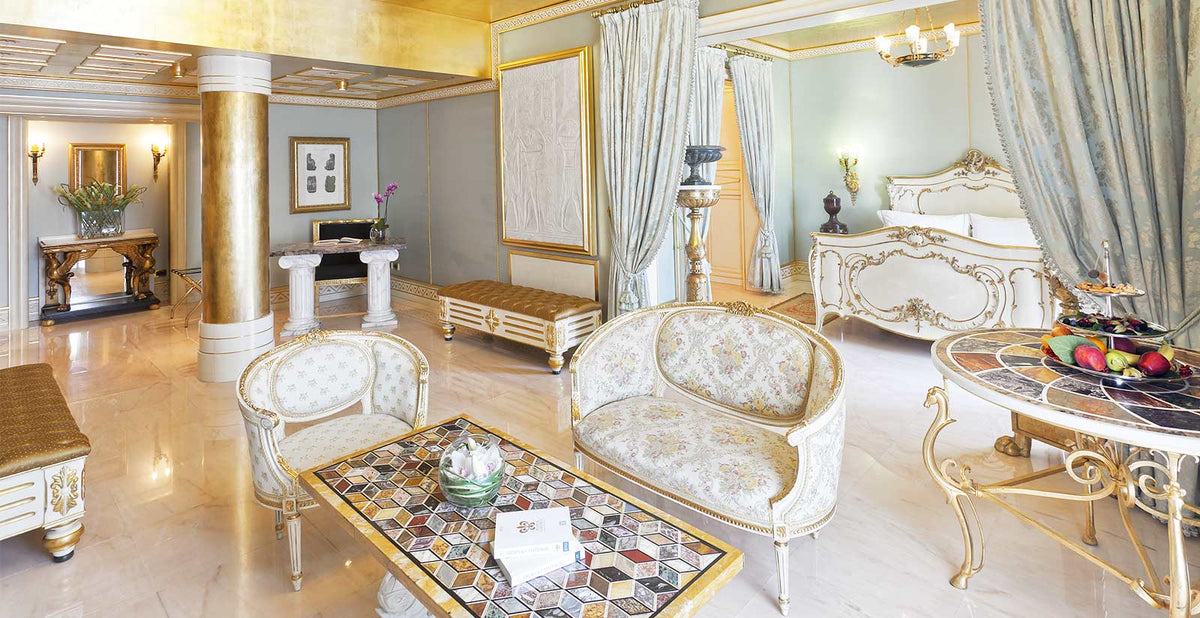 Terme Manzi Hotel & Spa, Ischia - hotel room with old world European style gold furniture and silver silk curtains