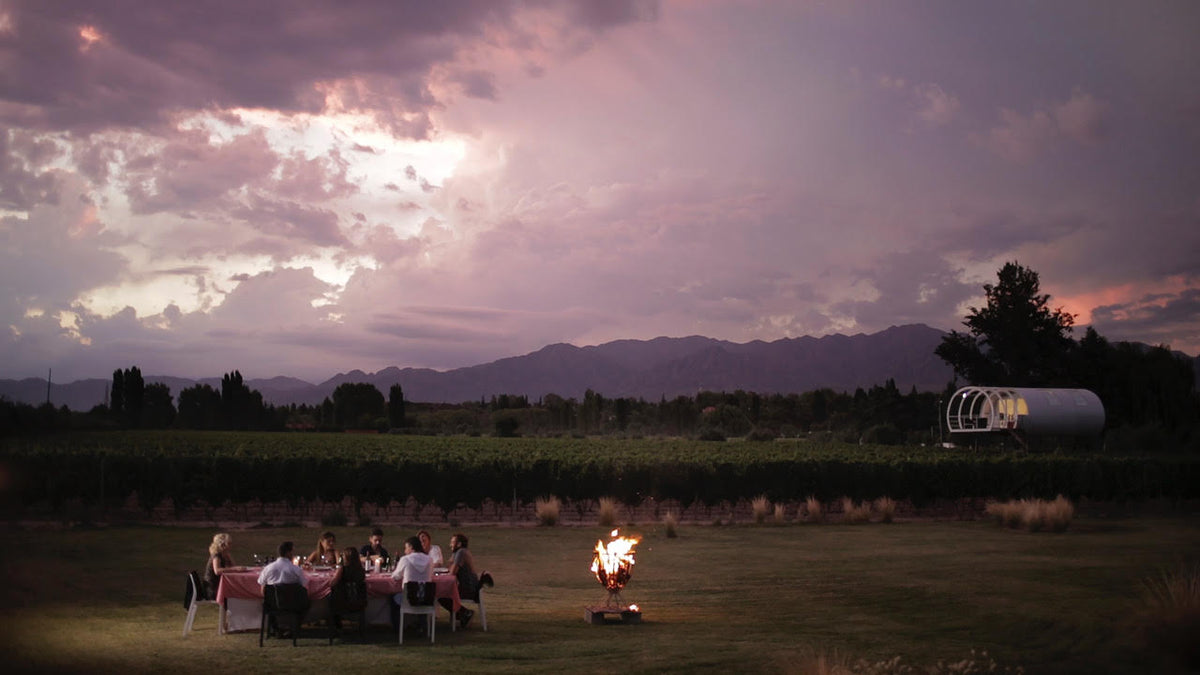 Entre Cielos, Mendoza - people seated at a table next to a fire pit with vineyard in the background at dusk