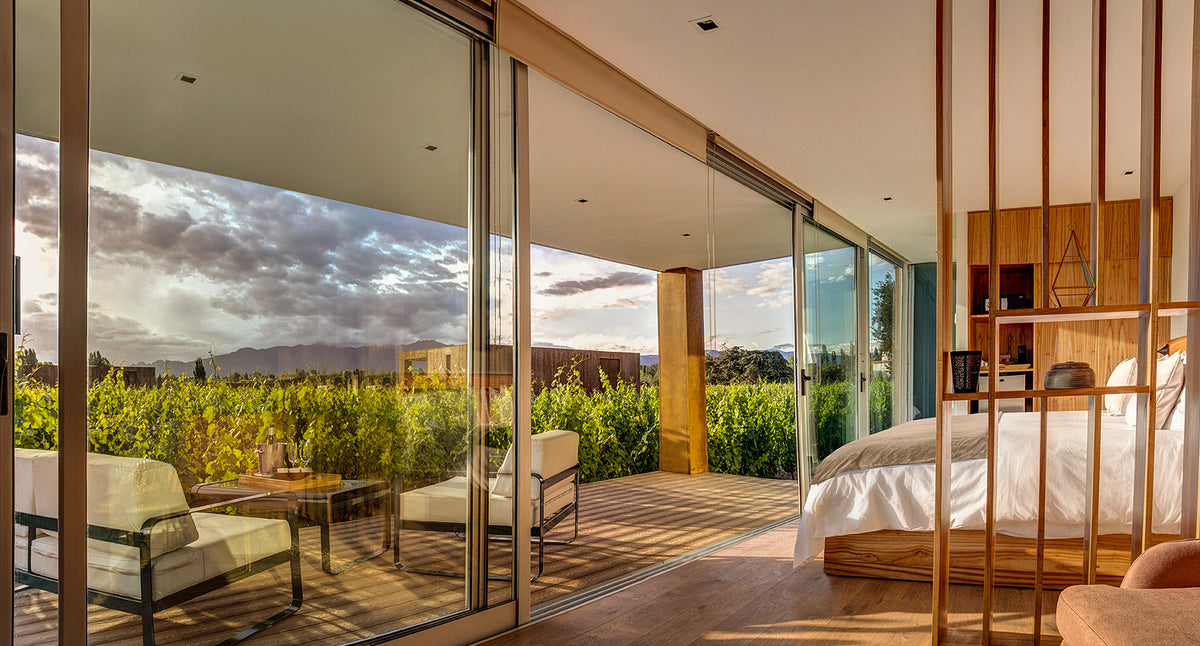Entre Cielos, Mendoza - minimalist hotel room with large sliding door windows opening up to a private patio and vineyard view