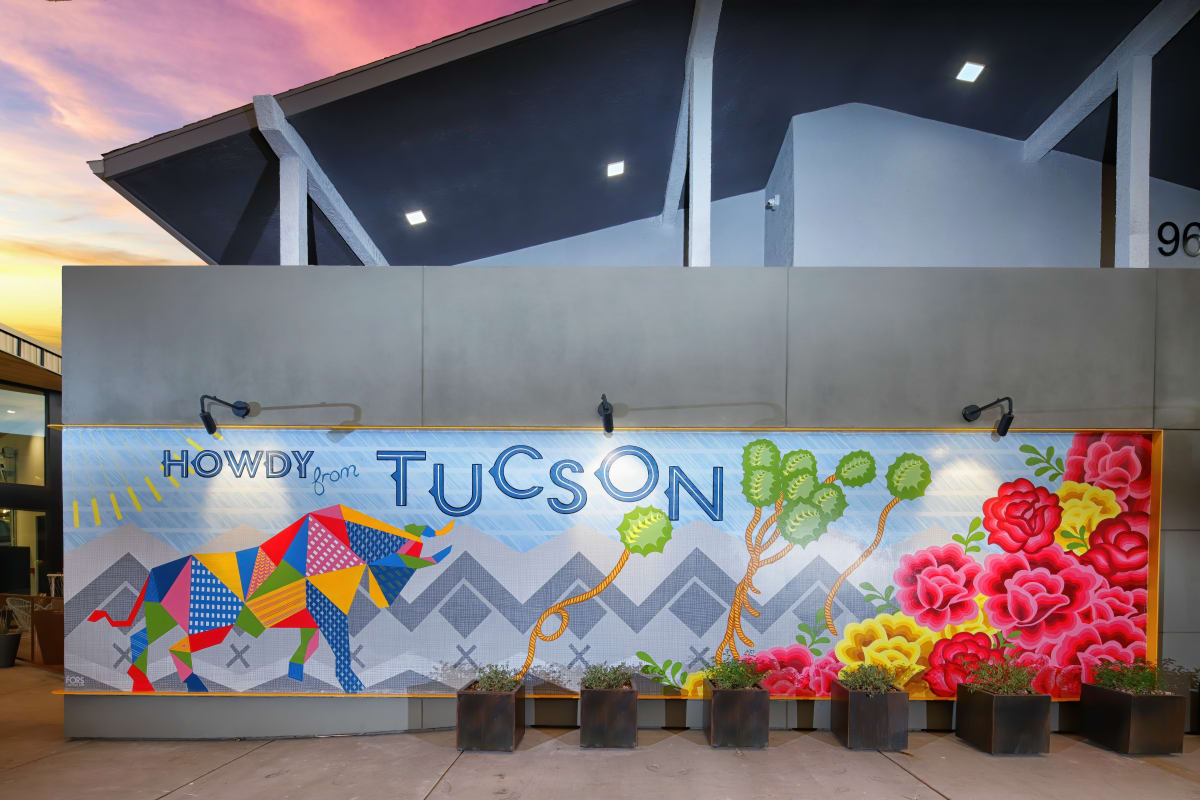 "The Tuxon Hotel, Tucson - colorful artwork sign with cacti flowers, bull, and ""Howdy from Tuscon"""