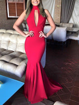 Sleeveless Hollow Halter Floor-Length Prom Dress