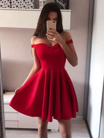 Sleeveless A-Line Off-The-Shoulder Short/Mini Homecoming Dress
