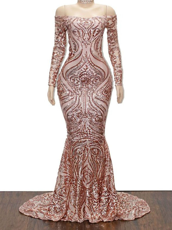 Sweep/Brush Off-The-Shoulder Floor-Length Trumpet/Mermaid Evening Dress