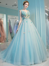 Pearl Court V-Neck Floor-Length Quinceanera Dress