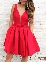 Sleeveless Short/Mini V-Neck A-Line Homecoming Dress