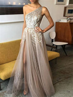Sequins One Shoulder Floor-Length A-Line Formal Dress