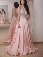 Floor-Length Halter A-Line Beading Evening Dress