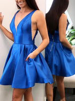 V-Neck Pockets A-Line Short/Mini Homecoming Dress