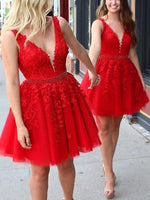 A-Line Short/Mini Sleeveless Appliques Homecoming Dress