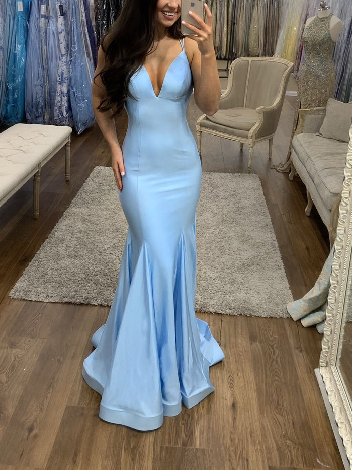 Floor-Length Sleeveless Trumpet/Mermaid Spaghetti Straps Prom Dress