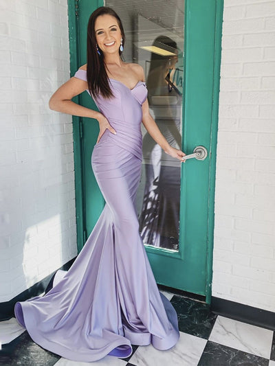 Off-The-Shoulder Trumpet/Mermaid Floor-Length Evening Dress