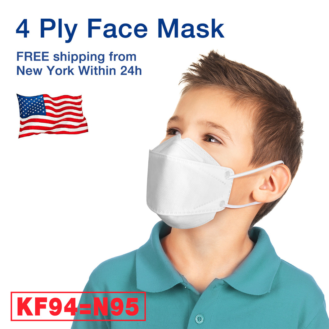 4-ply Filters KF94 Face Mask (=N95) with Standard Safety Certificate, Kids Size (24pcs)