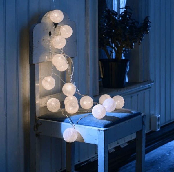 Plug In White Cotton Ball String Lights