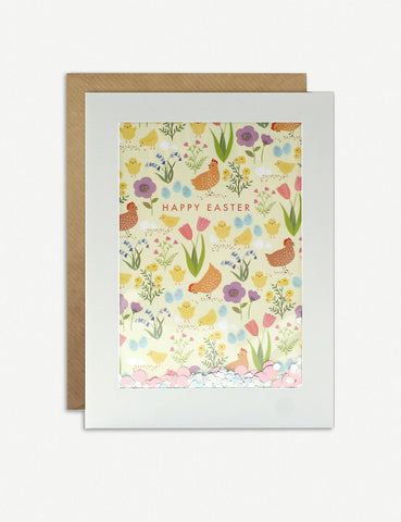 card with see through window , confetti and happy Easter