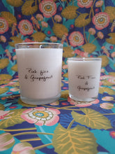 Load image into Gallery viewer, Pink fizz and grapefruit white candle in glass votive