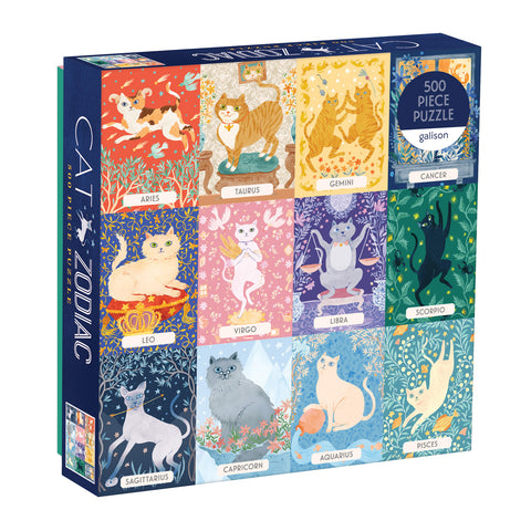 500 piece jigsaw featuring cats depicting signs of the zodiac