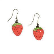 Walnut lazer cut strawberry on earring hooks