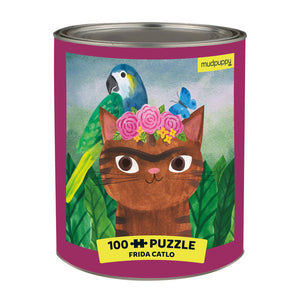 This 100-piece puzzle features an illustrated feline portrait inspired by the work of Frida Kahlo and is cleverly packaged in a paint can tin. Ages 6 +