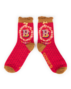 red ankle sock with b monogram