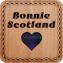 Load image into Gallery viewer, wooden and tartan coaster, bonnie scotland