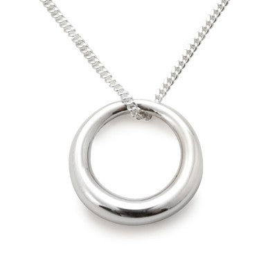 Silver Necklace with 2.3cm circle pendant
