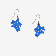 Walnut seaweed shape Blue with Nickel free earring hooks