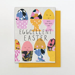 eggcellent easter card lots of eggs in cups decorated on card