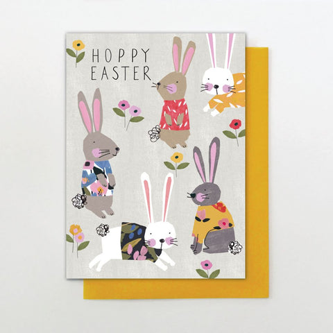 Hoppy Easter words and cute bunnies card