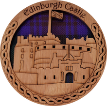 Load image into Gallery viewer, wooden and tartan coaster, Edinburgh castle