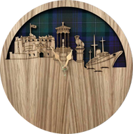Cut out wooden clock of Edinburgh skyline attractions with tartan background. Round.