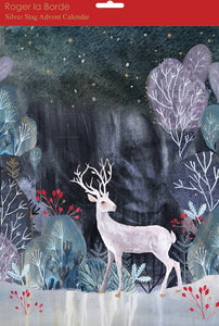 Advent Calendar night scene with silver stag
