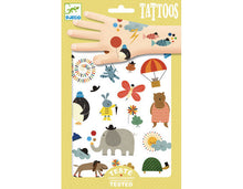Load image into Gallery viewer, Kids Temporary Tattoo Cat Elephant dog Tortoise Hot air Balloon Penguin